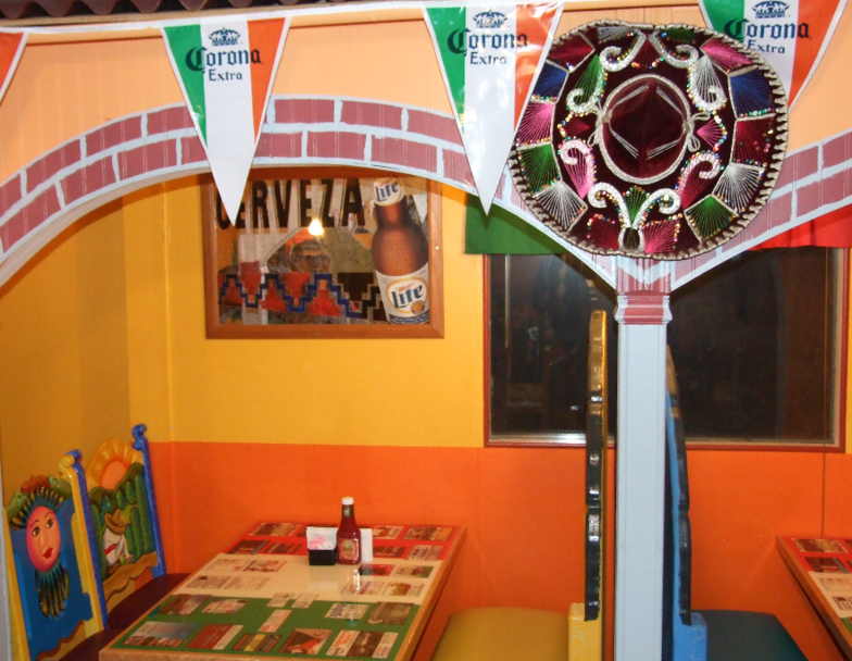 Sombrero on Wall between restaurant booths