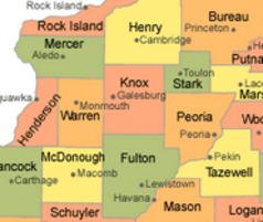 Map of Knox County Illinois and adjacent counties