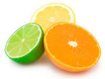 Half a lime, half a lemon and half an orange