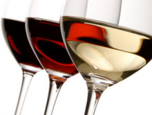 Red, Rose and White Wine in Wine Glasses